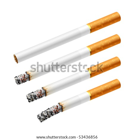 Different stages of smoking a cigarette. Vector. - stock vector