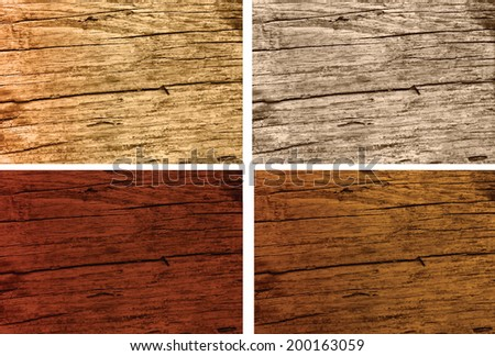 different stained colours of old weathered woods - stock vector