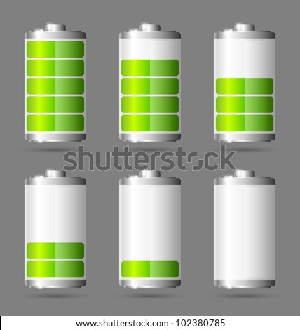 Different states of charged green battery icon - stock vector