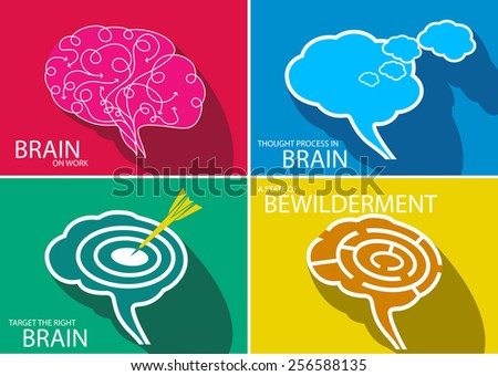 Different status of brain in business - stock vector