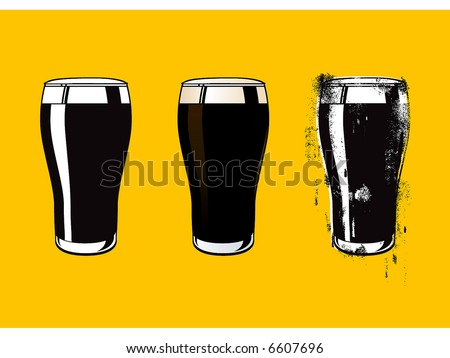 different style of a black beer jar - stock vector