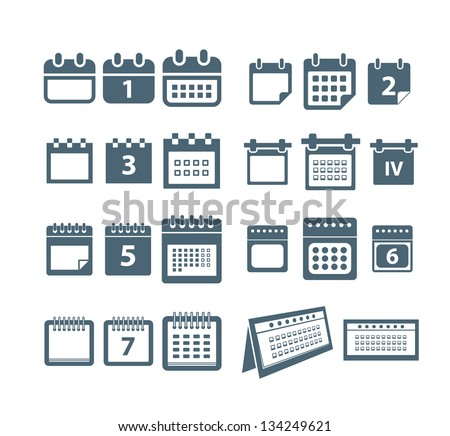 Different styles of calendar web icons collection - stock vector