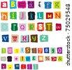 different styles of ransom style designed alphabet and numbers - stock vector