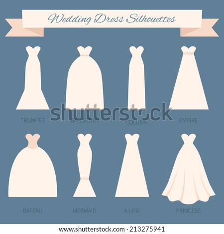 Different Styles Of Wedding Dresses Made In Modern Flat Vector Style.  Choose Your Perfect Wedding