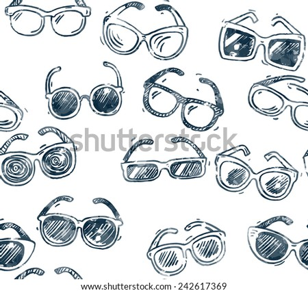 different sunglasses types seamless pattern, hand drawn doodle style icons set, vector illustration. - stock vector