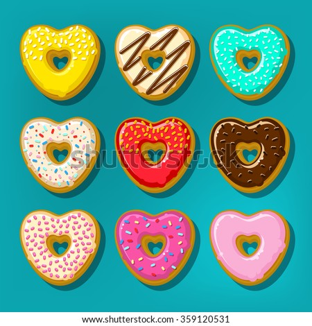 Different sweet donuts. Cute and bright set of donuts in shape of heart. Flat design, vector illustration - stock vector
