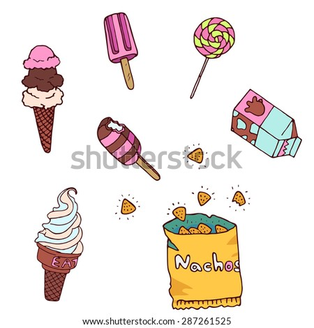 Different sweets colorful background. Lollipops, nachos, ice cream and candies on white background. Vector illustration - stock vector