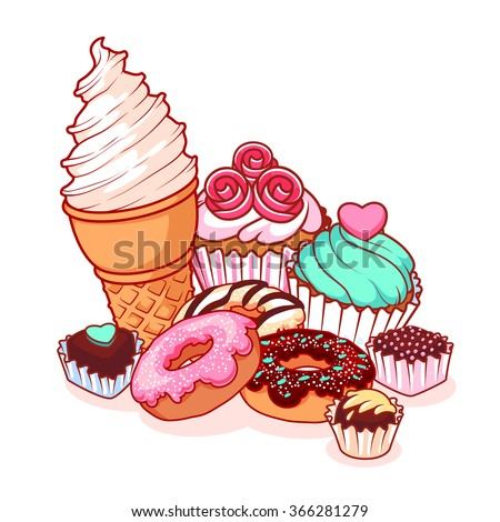 Different sweets: ice cream, donuts, chocolate candies and muffins. Delicious food isolated on white background. Vector cartoon illustration. - stock vector