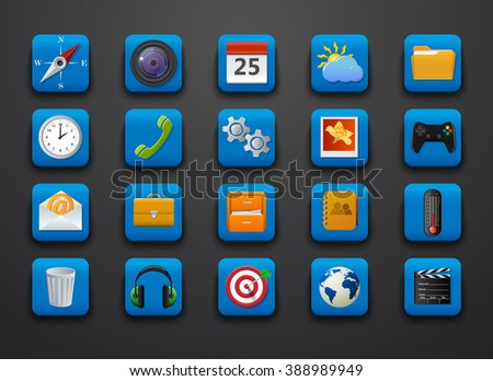 Different symbol icons on blue. Vector illustration - stock vector