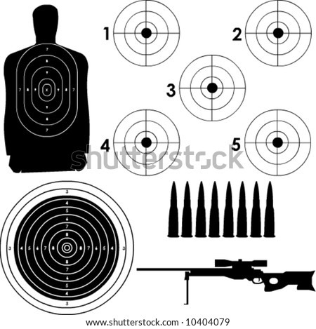 Different targets in vector format with sniper rifle and bullets. - stock vector