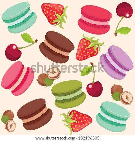 Different tastes and colors macaroons and fruits pattern. Vector illustration background. - stock vector