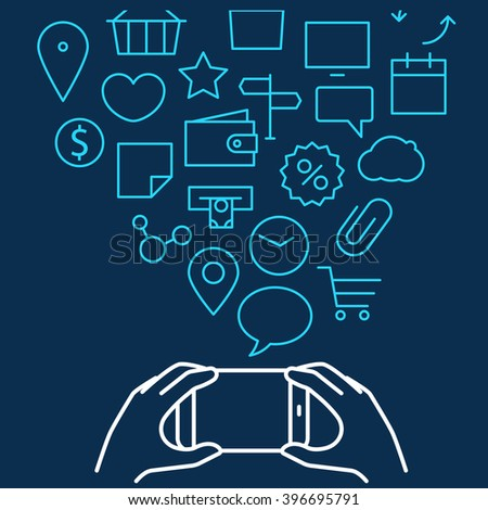 Different techno icons flows into the modern gadgets. Lineart vector illustration - stock vector