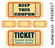 Different tickets with blank templates over white - stock vector