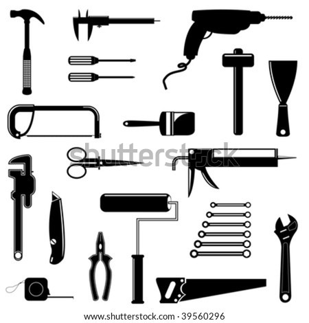 Different tools silhouettes isolated over white background
