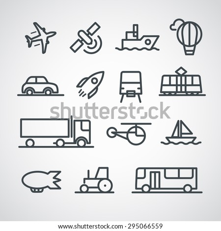 Different transport icons collection. Vector clip-art - stock vector