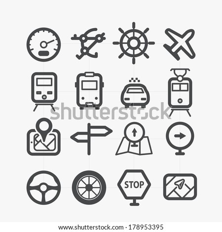 Different transport icons set with rounded corners. Design elements - stock vector