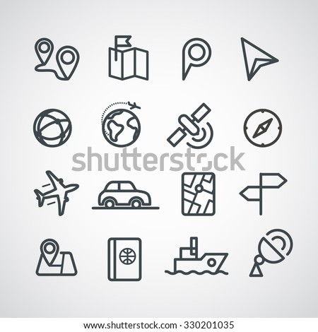 Different transportation icons collection. Vector clip-art - stock vector