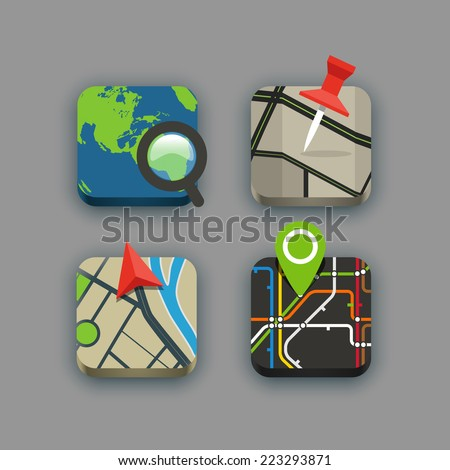 Different travel icons set with rounded corners. Design elements - stock vector