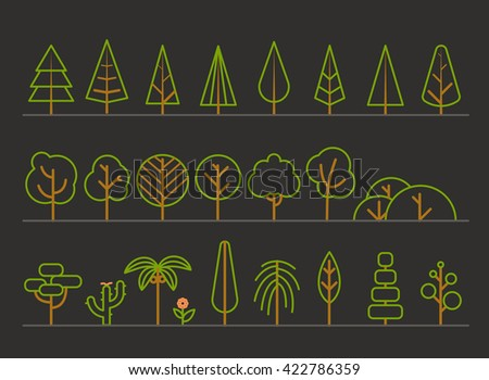 Different trees collection. Lineart design set - stock vector