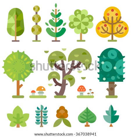 Different trees isolated on a picture: abstract tree, hardwood, coniferous, summer tree, autumn tree with red and orange leaves, bushes, mushrooms, pine, cone. Illustration set in flat.