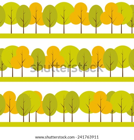 Different Trees Natural Seamless Pattern Background Vector Illustration - stock vector