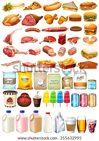Different type of food and dessert illustration - stock vector