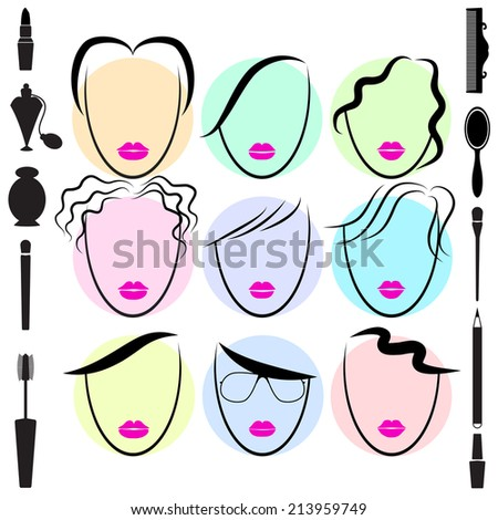 Different type of hair style. Fashion. Vector illustration - stock vector
