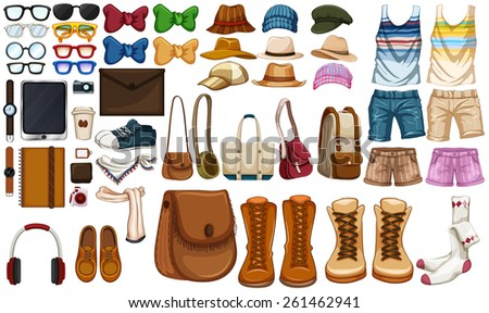 Different type of hipster accessories - stock vector