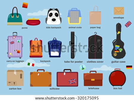 Different types of baggage, bags, cases, suitcases, backpacks, kids backpack, box, carry-on luggage, tube for poster, purse, animal crate, paper bag, clothes cover, guitar case. Vector illustration - stock vector