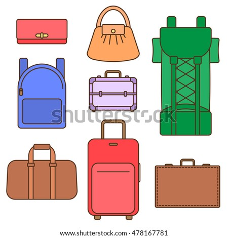 Different types of bags, flat vector illustration collection