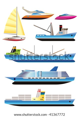 different types of boat and  ship icons - Vector icon set - stock vector