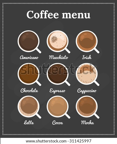 Different Types Coffee Chocolate Cocoa On Stock Vector