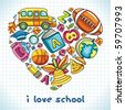 Different types of colorful school icons, combined in a shape of a heart. - stock vector
