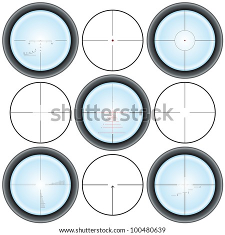 Different types of crosshairs - stock vector