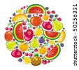 Different types of delicious fruits combined in juicy planet - stock vector