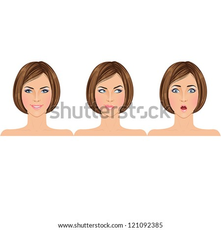 Different types of emotions on example of a beautiful young brunette woman: happy, making choice, shocked/surprised. Portraits. Isolated vector illustrations. - stock vector
