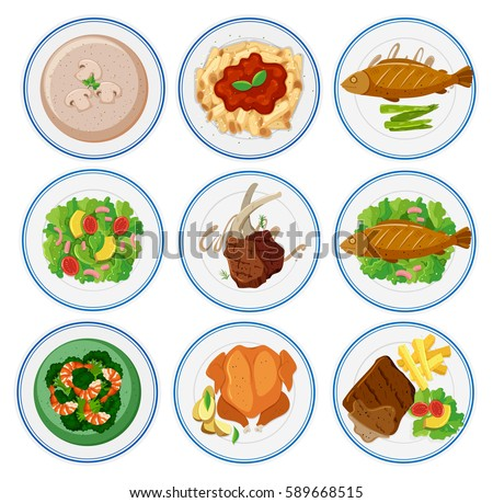 Different Types Food On Plates Illustration Stock Vector 592383368 ...