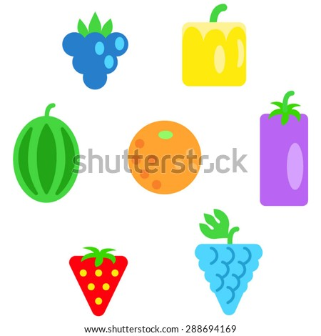 Different types of fruits as simple shapes and in colors of rainbow / Circle, ellipse, rectangle, square, triangle are like simple shapes. Education material for kids