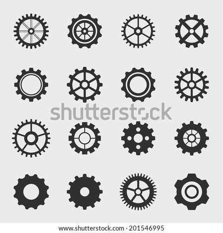 Different types of gears. Set icons.