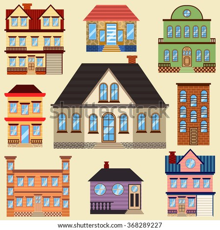 Different types houses buildings map other stock vector for Pictures of different homes