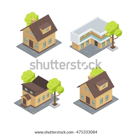 Different Types Of Houses. There Are Cottages With Trees. Tiny House, Villa  And