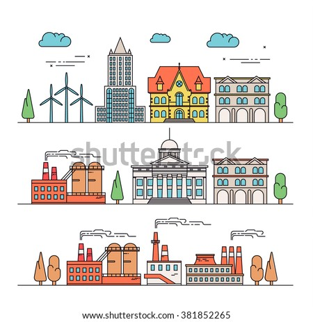 Great city map element creator seamless stock vector for Different building styles