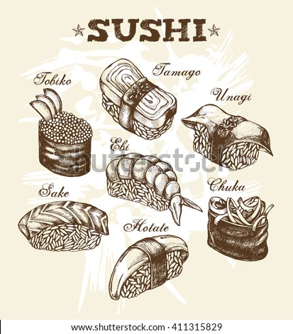 Different types of Japanese sushi (nigiri, gunkan). Hand drawn set. Vector illustration in vintage style. Menu or signboard template for restaurant of Japanese cuisine.