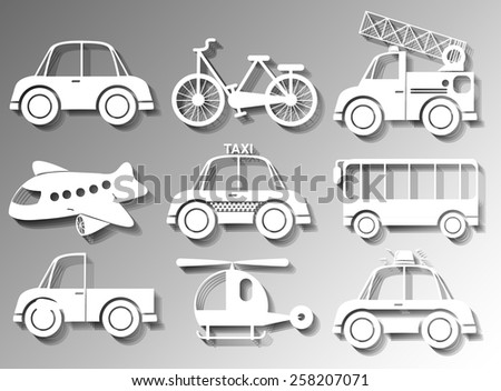 Different types of land and air transportation - stock vector