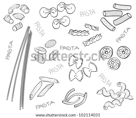 Different types of pasta - hand-drawn illustration - stock vector