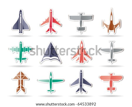 different types of plane icons - vector icon set - stock vector