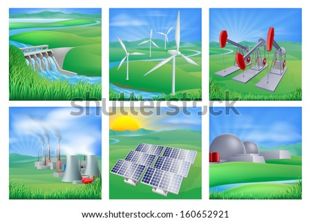 Different types of power and energy generation including wind, solar,  hydro or water dam and other renewable or sustainable as well as fossil fuel and nuclear power plants. Also oil well pumpjacks  - stock vector