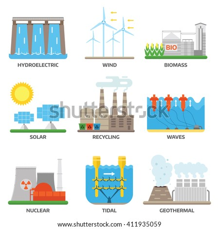 Different types of power and energy sources generation including wind, solar, hydro or water dam and other. Energy sources renewable or sustainable and energy sources power plants. - stock vector