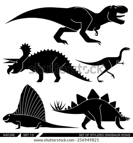Different types of prehistoric dinosaur icons: rex, trex, tyrannosaurus, triceratops, stegosaurus, lesothosaur. Vector illustration. - stock vector