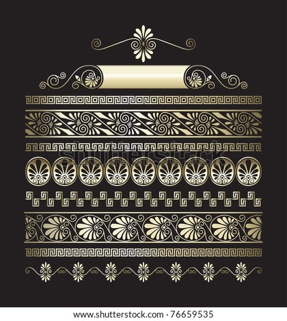 Different types of seamless  gold Greek patterns - stock vector